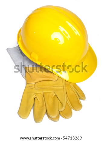 Hard Hat And Leather Gloves on white