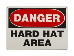 Hard Hat Area Metal Sign Isolated on White Background.