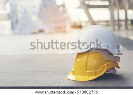Hard hat engineer helmet. safety hardhat protecting head. construction concept #578802796