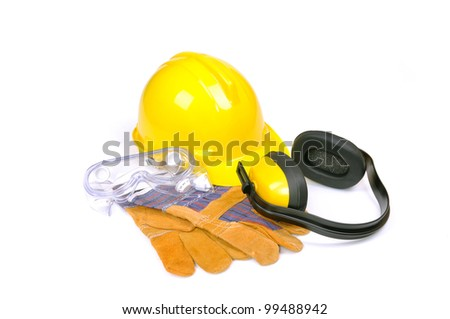 hard hat, goggles, gloves and ear muffs isolated on white, protective equipment