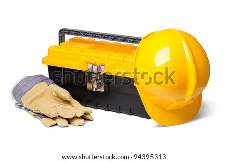 Hard Hat, Leather Gloves and toolbox isolated on white