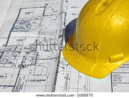 hard hat on print - stock photo