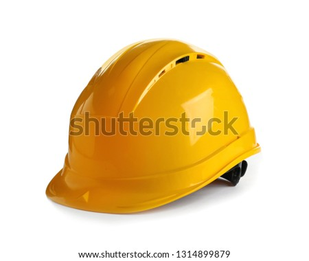 Hard hat on white background. Construction tools