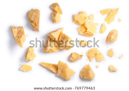 Hard mature cheese (Parmesan, Parmigiano), rough pieces, piles, crumbs. Clipping paths, shadow separated, top view