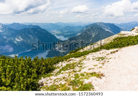 Hard surface area on the Alp mountain with view to the Hallstatter lake in Dachstein, Austria.