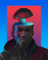 Hard thoughts. Portrait of african-american man in bright colors. Trendy neon lighted background with copyspace for ad. Modern design. Contemporary art collage. Inspiration, mood, creativity concept.