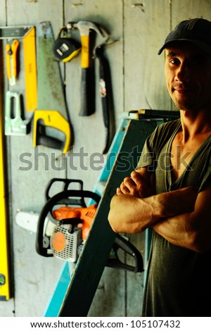 Hard worker in workshop.