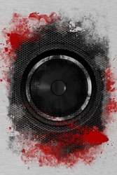 Hardcore Rock Bass Speaker. Cool Grunge Black Bass Speaker with Damaged Metal Sheets and Red Paint. Cool Background for Your Music Event Posters, Flyers and more!