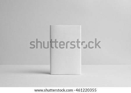 Hardcover Book Mock-Up - Dust Jacket. Front. Wall Background