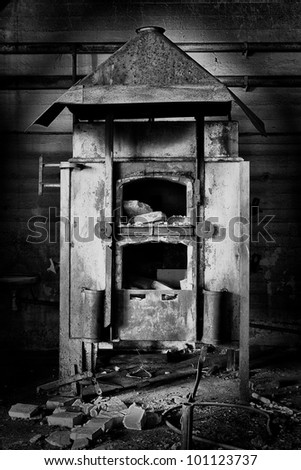 hardening furnace in the workshop, black and white