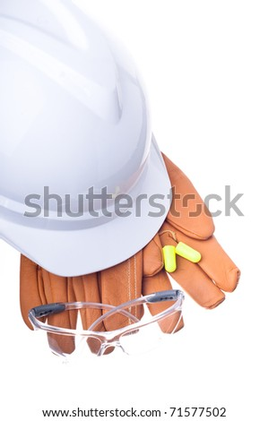hardhat, gloves, safety glasses, and earplugs
