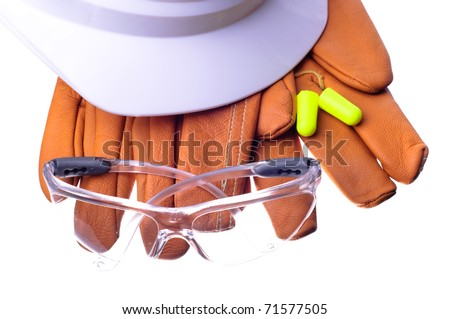 hardhat, safety glasses, gloves, and earplugs