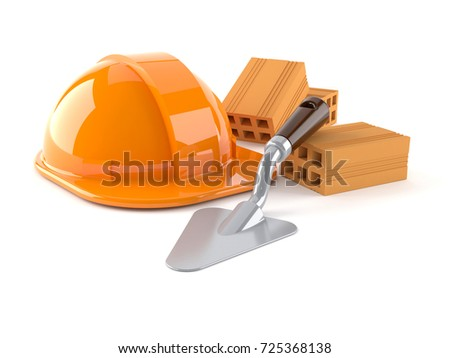 Hardhat with trowel and bricks isolated on white background. 3d illustration