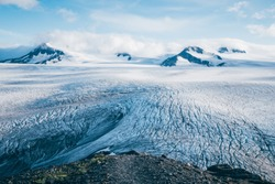 Harding Icefield seen from the ridge coming up from Exit Glacier with some peaks in the background