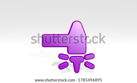 HARDWARE HAMMER NAIL HIT stand with shadow. 3D illustration of metallic sculpture over a white background with mild texture. computer and equipment stock photo