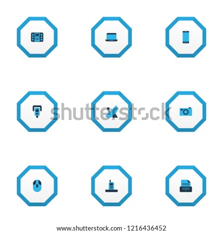 Hardware icons colored set with smartphone, laptop, sputnik antenna and other capture elements. Isolated  illustration hardware icons.