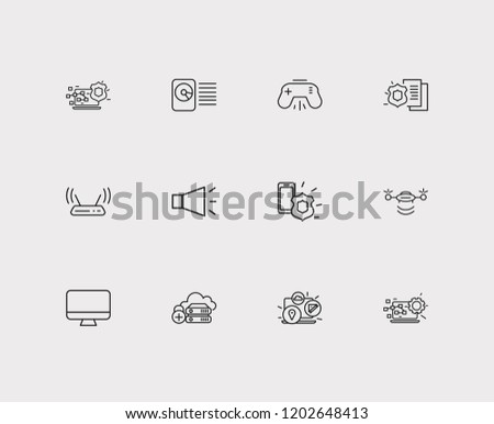 Hardware icons set. Bullhorn and hardware icons with modem, computer widget and monitor. Set of backup for web app logo UI design.