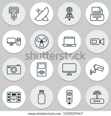 Hardware icons set with cctv, modem, sputnik and other speaker elements. Isolated  illustration hardware icons.