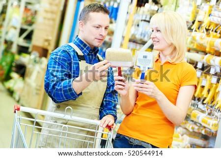 Hardwarer store worker with craftsman buyer Foto d'archivio ©