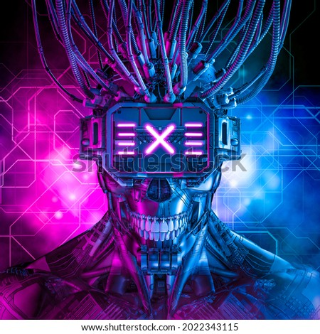 Hardwired cyberpunk skull robot - 3D illustration of science fiction cyberpunk skull faced grinning android wearing futuristic virtual reality glasses