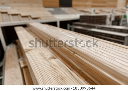 Hardwood decking panels from deciduous wood. The view from the side. Floor covering. Concept of repair and construction. Photo stock ©