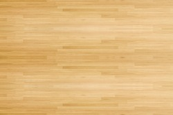 Hardwood maple basketball court floor viewed from above for natural texture and background