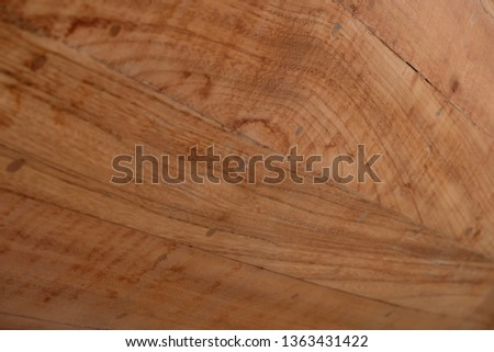Hardwood planks, detail of a classic wooden boat planking.