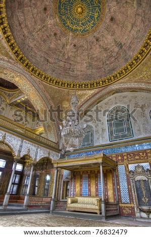 Harem main bedroom within Topkapi Palace at Istanbul - stock photo