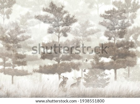 hares play, pine trees in the fog, forest, catching butterflies, wallpaper design