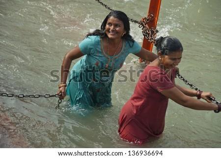 Ganga River Bath Haridwar, India - Febr...