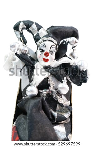 harlequin doll isolated on a white background, clown doll in black and white harlequin Foto d'archivio ©