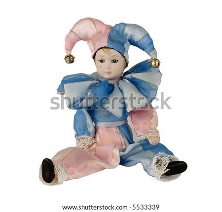 harlequin doll on a white backgorund Foto d'archivio ©