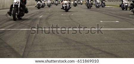 Harley motorcycle race in circuit, vehicle and transport