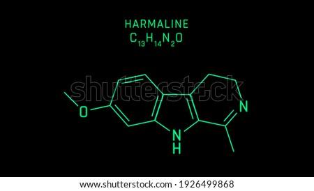 Harmaline Molecular Structure Symbol Neon on black background Stock fotó ©