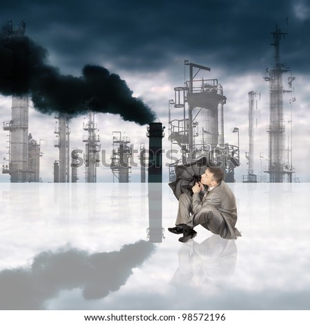 Harmful poisonous emissions from the industrial enterprises pollute environment and threaten with chemical rains - stock photo