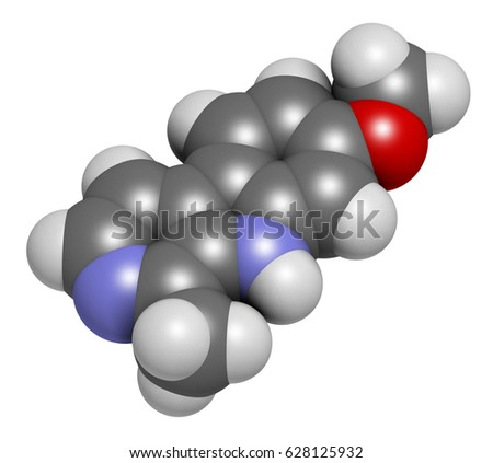 Harmine alkaloid molecule. Herbal inhibitor of monoamine oxidase A. (MAO-A). 3D rendering. Atoms are represented as spheres with conventional color coding: hydrogen (white), etc Stock fotó ©