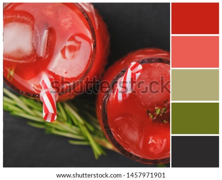 Harmonious color combinations. Color palette.  Red, green, black colour swatch.