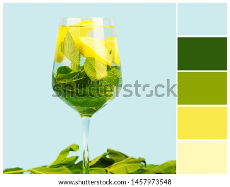Harmonious color combinations. Color palette. Spring - summer colour swatch: green, blue, yellow. #1457973548