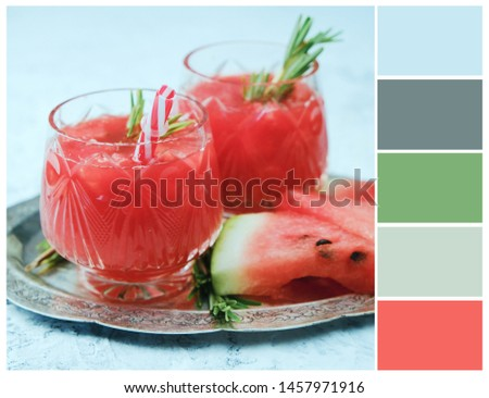 Harmonious color combinations. Color palette. Summer cocktail colour swatch.