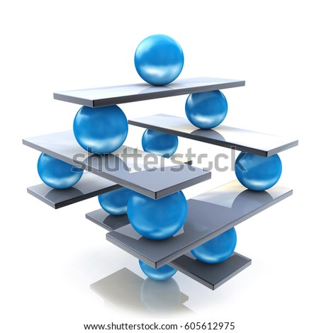 Harmony and balance. Conceptual image of perfect balance in the design of information associated with abstraction. 3d illustration