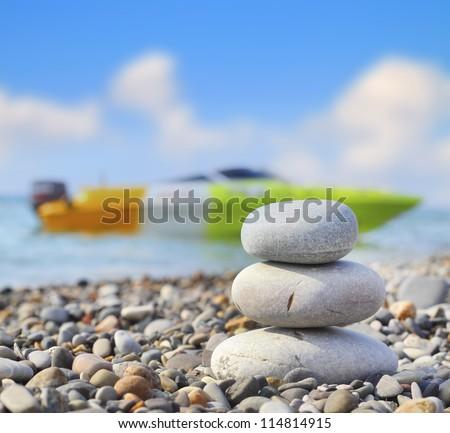 Harmony rocks sea boat sea blue sky