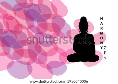 Harmony zen logo next to buddha. White background on theme of Buddhism. Light background with a silhouette of a buddha. Texture on theme of Buddhism. Buddhist painting pattern.  Zen Buddhism.