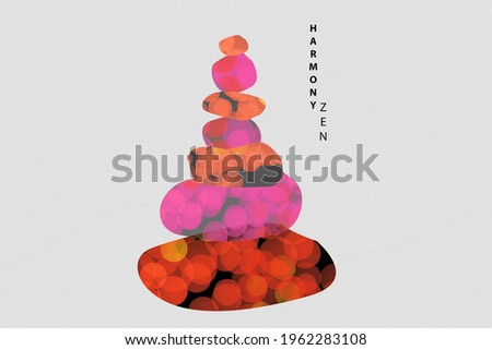 Harmony zen symbol. Zen buddhism concept. Illustration on theme of philosophy of Buddhism. Illustration about harmony in Buddhism. Silhouette of a cairn as a symbol of zen buddhist.