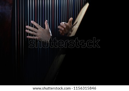 Harp player. Hands playing Irish harp strings. Music instrument closeup. Harpist with celtic harp #1156315846