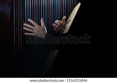 Harp player. Hands playing Irish harp strings. Music instrument closeup. Harpist with celtic harp #1156315846