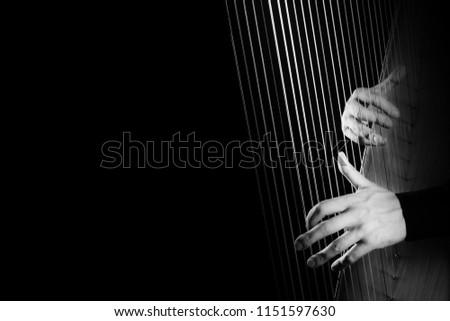 Harp player. Harpist hands playing Irish harp strings music instrument closeup #1151597630