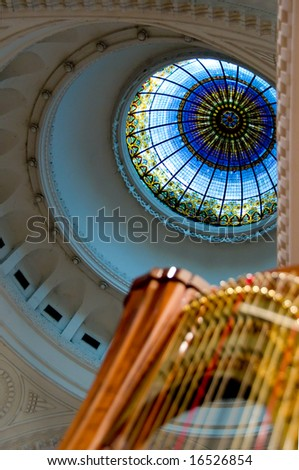 Harp strings close up - Classic music concert in synagogue