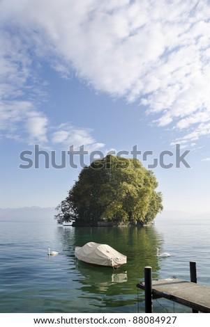 Harpe island located on Lake Geneva in Rolle, Switzerland