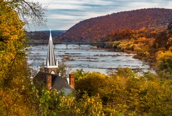 Harpers Ferry. This is a view of St. Peter's Roman Catholic Church in Harpers Ferry, West Virginia as it overlooks the Shenandoah River.