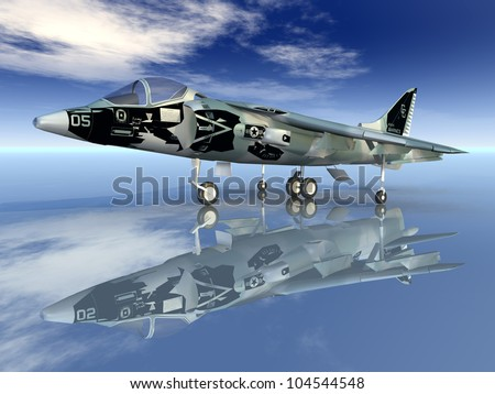 Harrier Combat Aircraft Computer generated 3D illustration